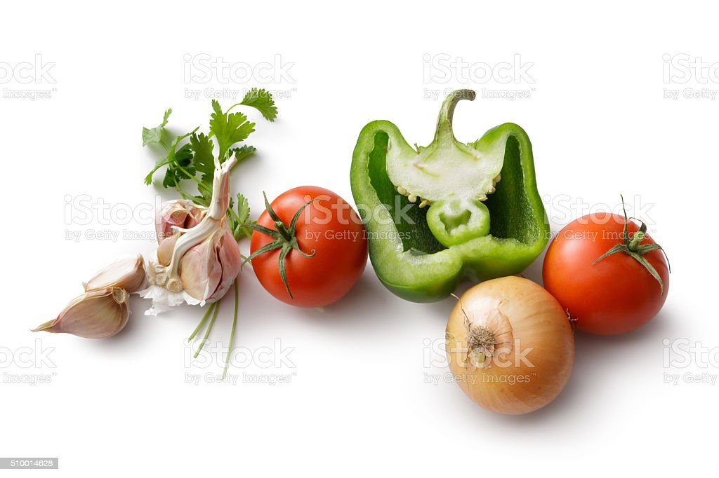 Ingredients: Bell Pepper, Tomato, Onion, Garlic and Cilantro stock photo