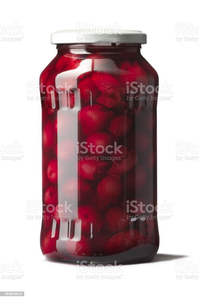 Ingredients: Cherries in Jar stock photo