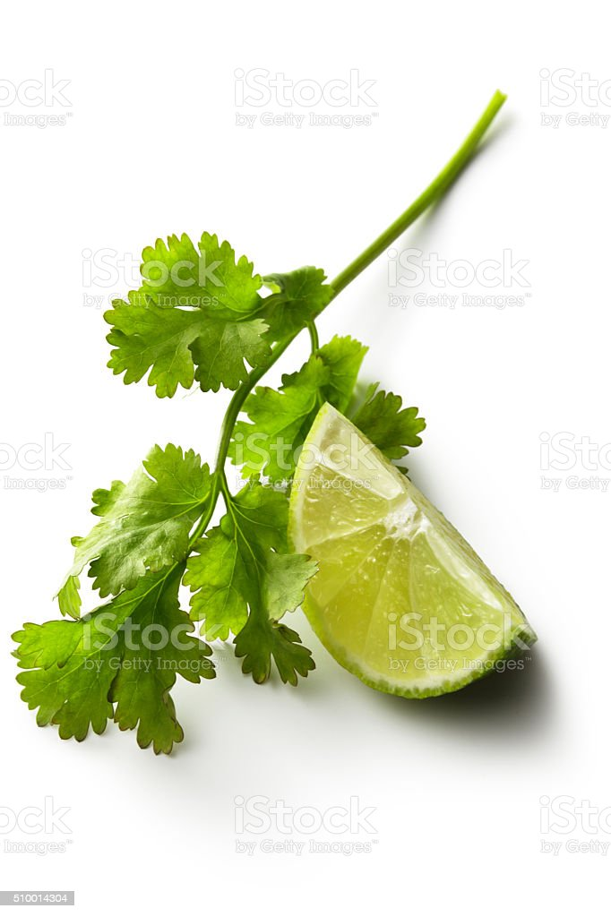 Ingredients: Cilantro and Lime Isolated on White Background stock photo