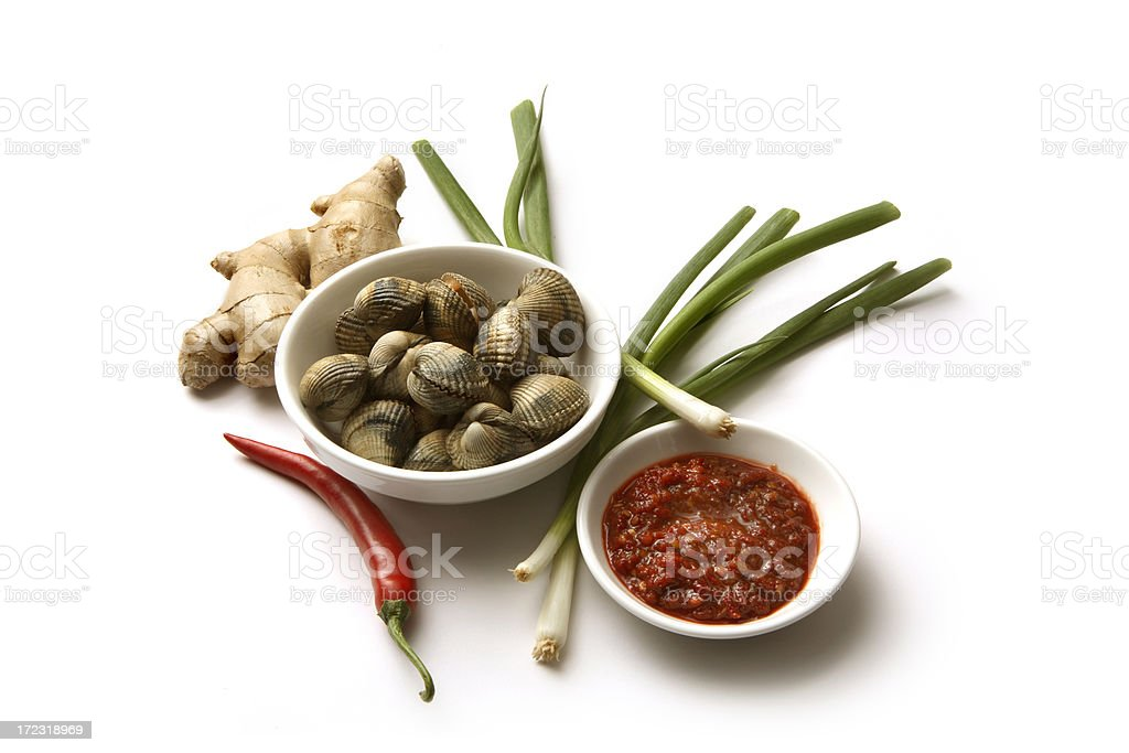 Ingredients: Cockles in Spicy Red Ginger Sauce 2 royalty-free stock photo