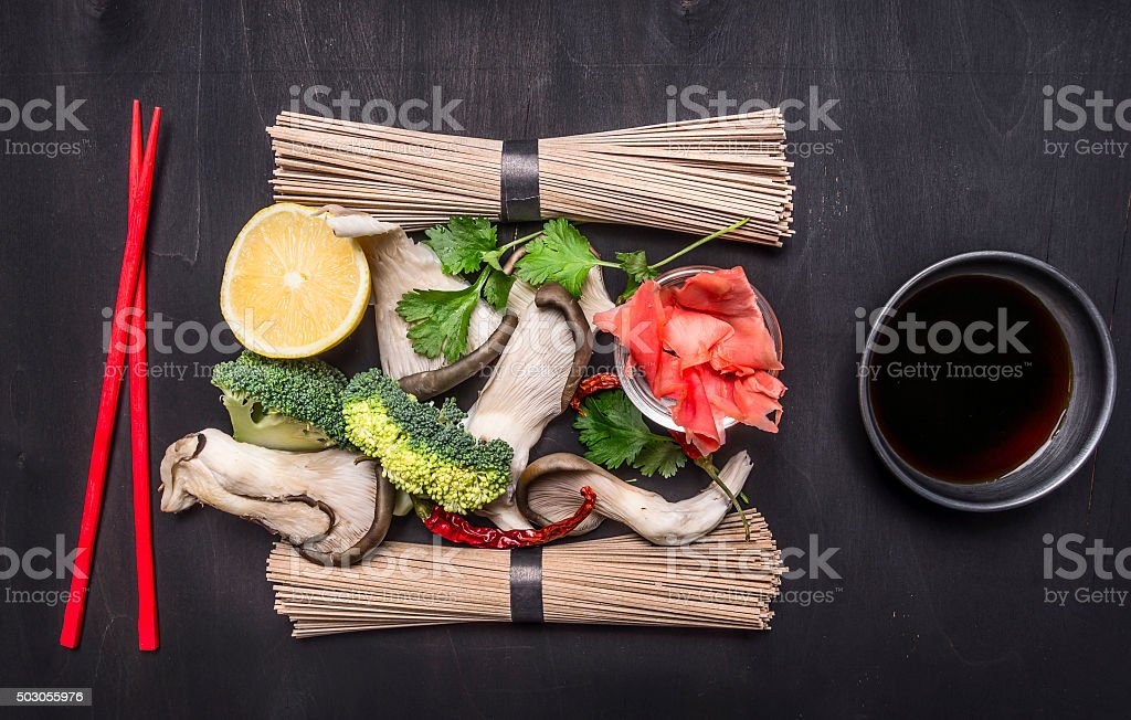Ingredients cooking raw Japanese buckwheat noodles  close up stock photo