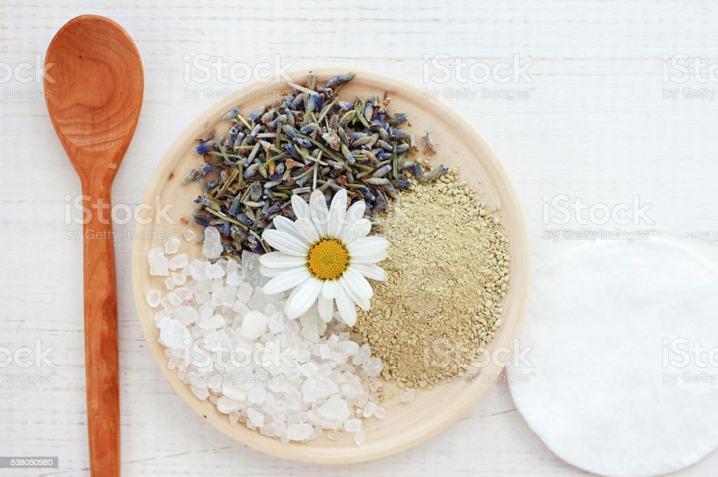 ingredients facial mask: clay,salt,lavender,chamomile stock photo