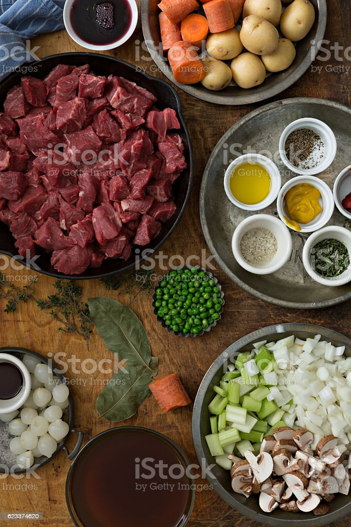Ingredients For A Beef Stew stock photo