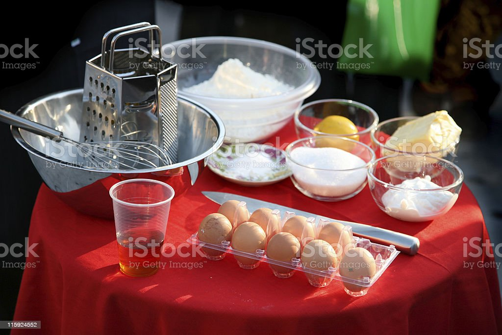 Ingredients for a cake royalty-free stock photo
