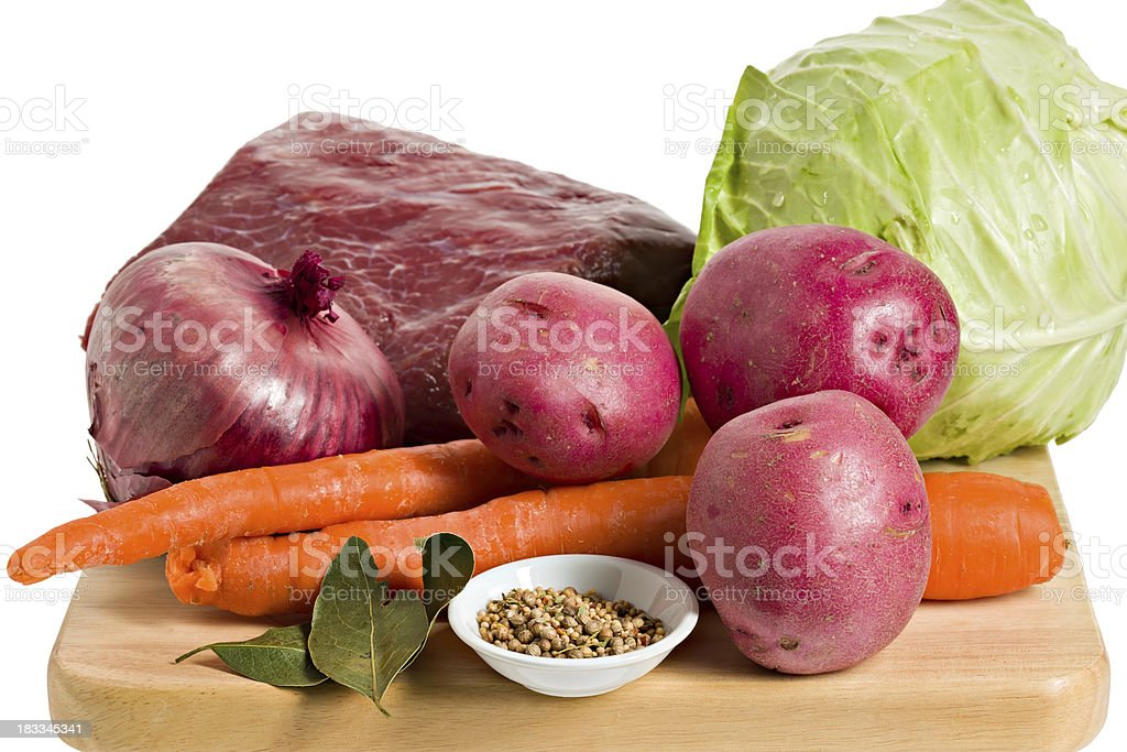 Ingredients for a corned beef dinner. stock photo