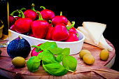 Ingredients for a Mediterranean sauce for pasta, bruschetta, sal
