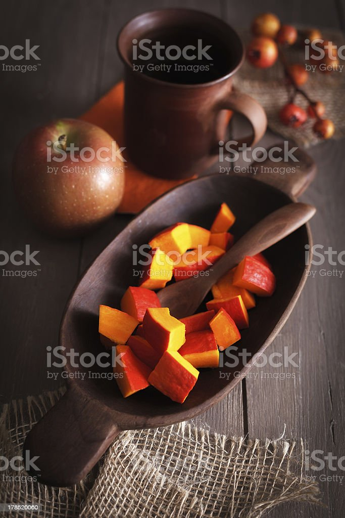 Ingredients for a pumpkin dish royalty-free stock photo