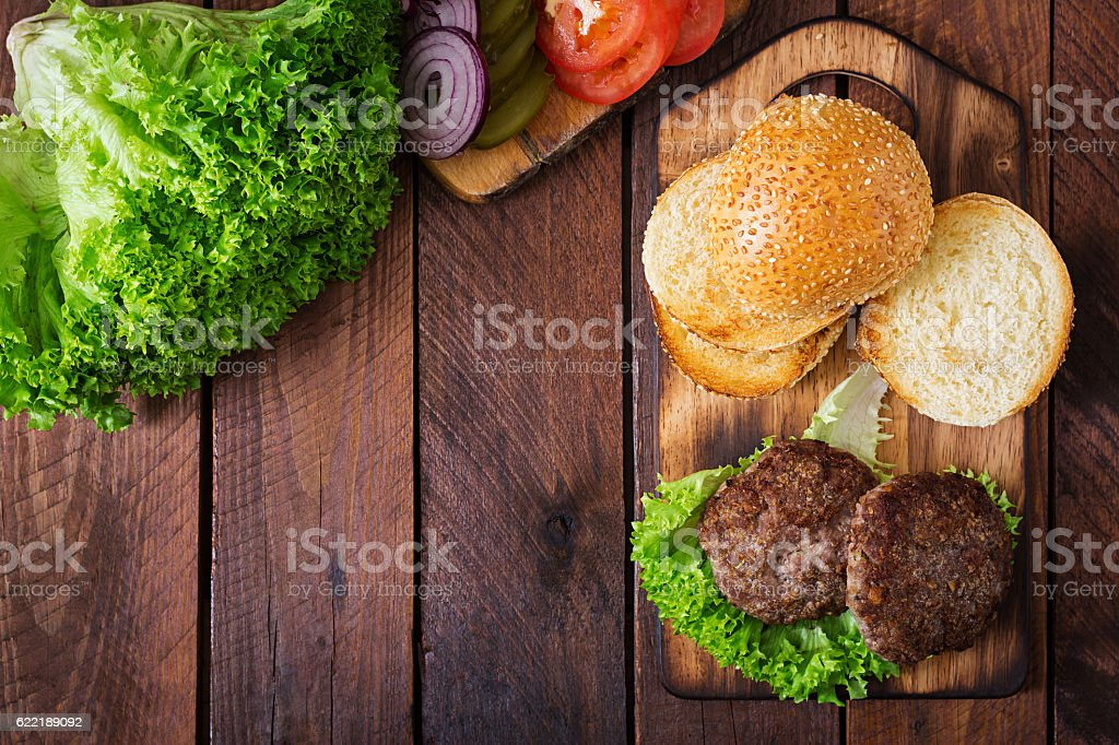 Ingredients for a sandwich - hamburger burger with beef stock photo