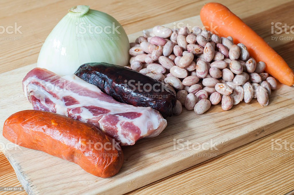 Ingredients for a spanish stew stock photo