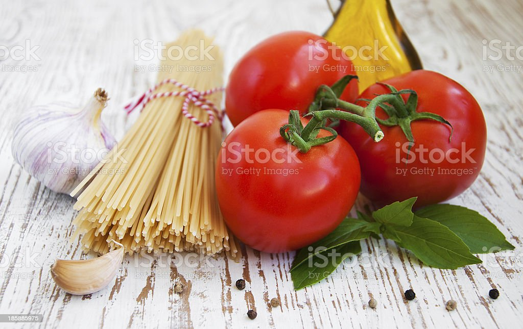 Ingredients for an Italian meal royalty-free stock photo