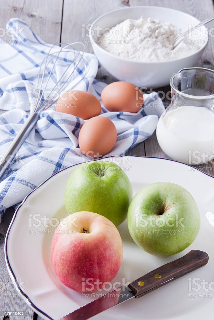 Ingredients for apple pie royalty-free stock photo