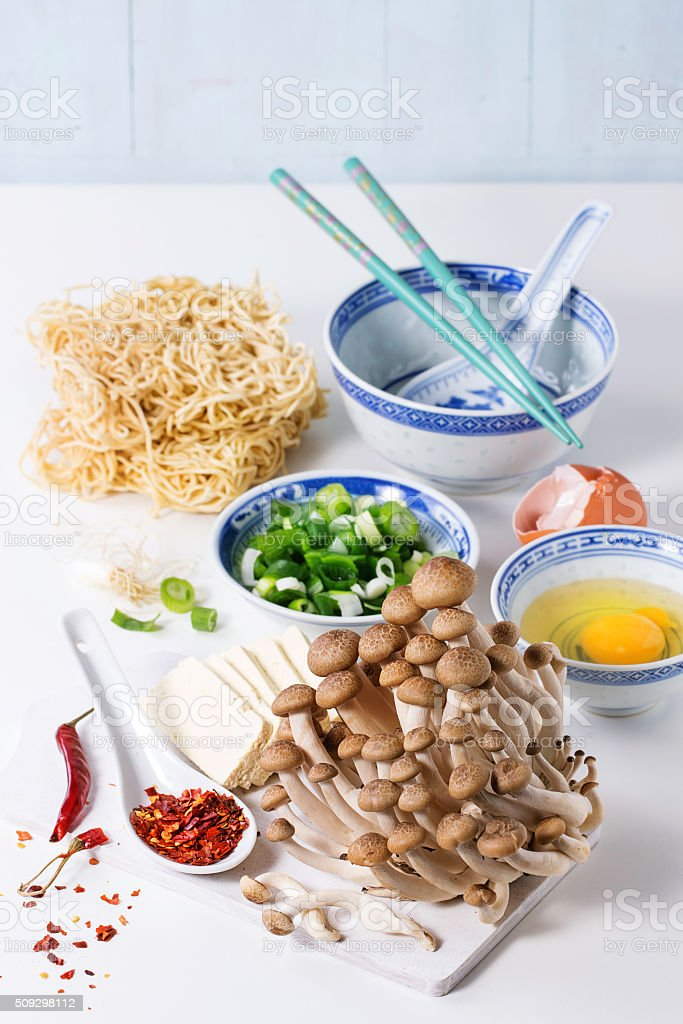 Ingredients for asian ramen soup stock photo