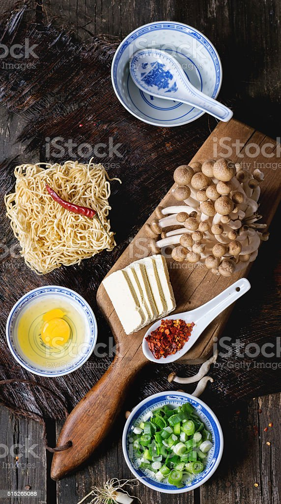 Ingredients for asian soup ramen stock photo