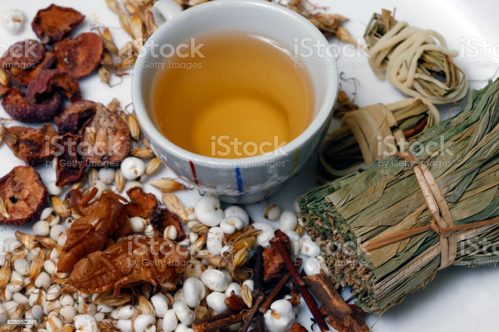 Ingredients for Asian tonic drink with exotic details stock photo