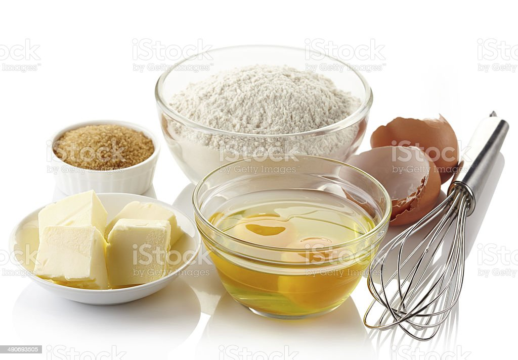 Ingredients for baking cake stock photo