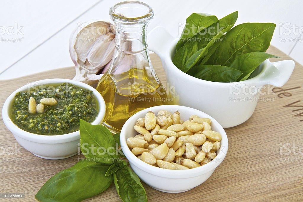 Ingredients for Basil pesto royalty-free stock photo