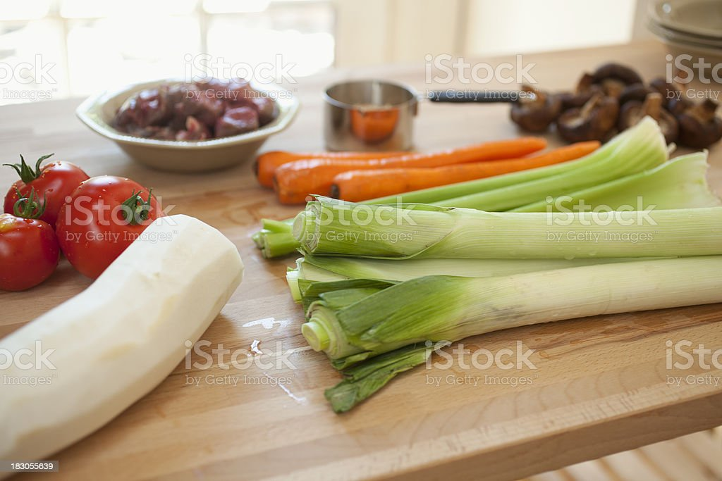 Ingredients for beef barley soup stock photo
