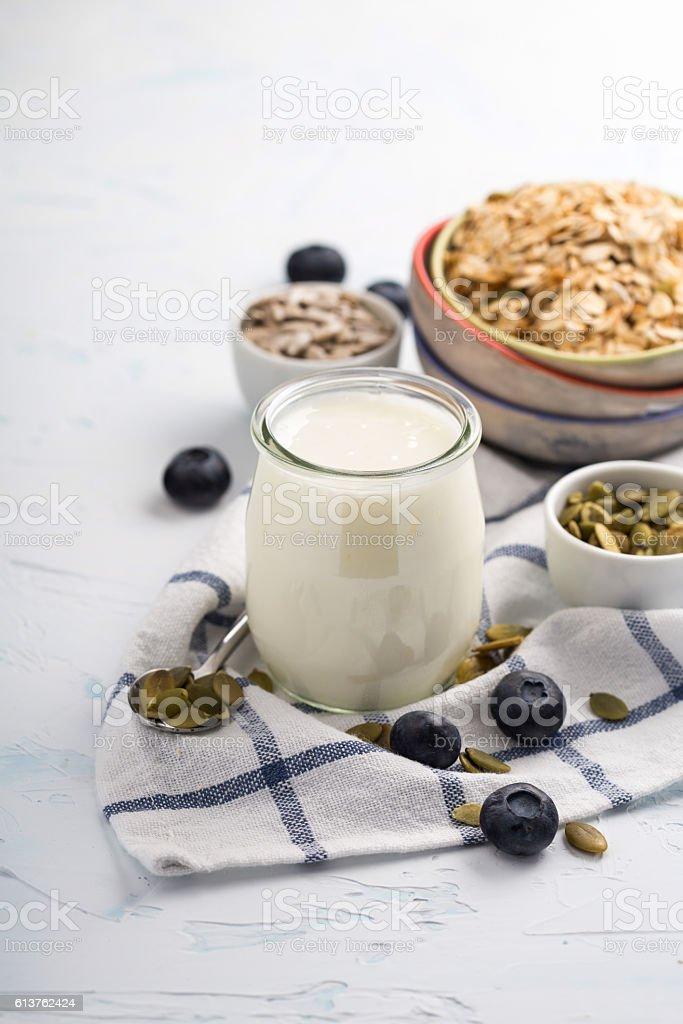 Ingredients for breakfast stock photo