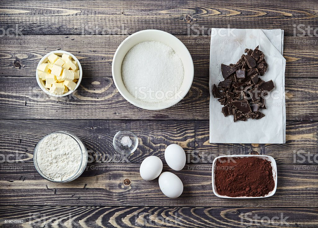 Ingredients for brownies on classic recipe stock photo