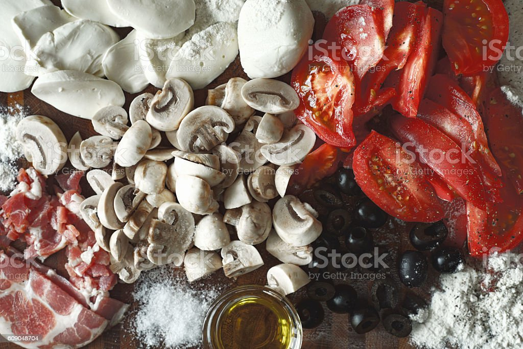 Ingredients for calzone top view stock photo