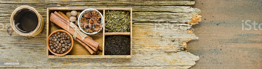 Ingredients for Chai tea in a banner format stock photo