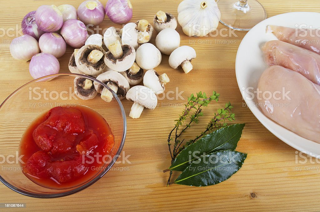 Ingredients For Chicken Chasseur royalty-free stock photo