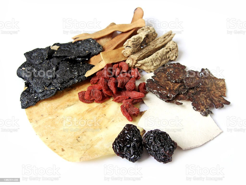 Ingredients for Chinese Herbal Medicine royalty-free stock photo