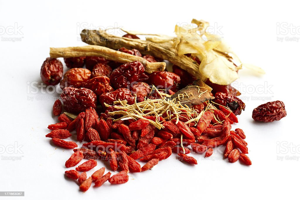 Ingredients for Chinese herbal soup royalty-free stock photo