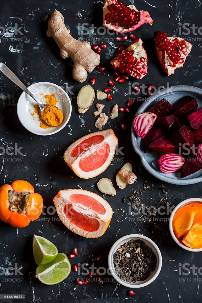 Ingredients for cooking beet and ginger detox elixir. stock photo