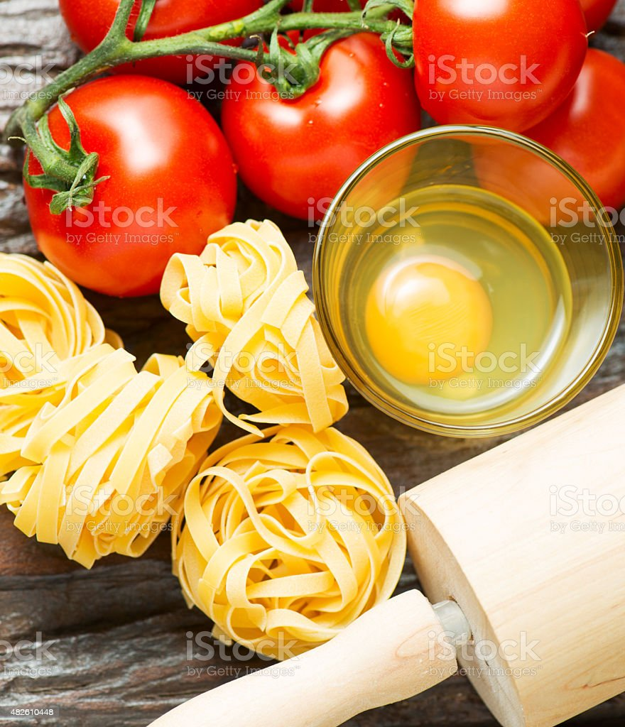 Ingredients for cooking healthy mediterranean dish on old wooden stock photo