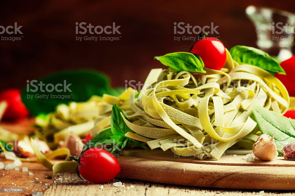 Ingredients for cooking pasta stock photo