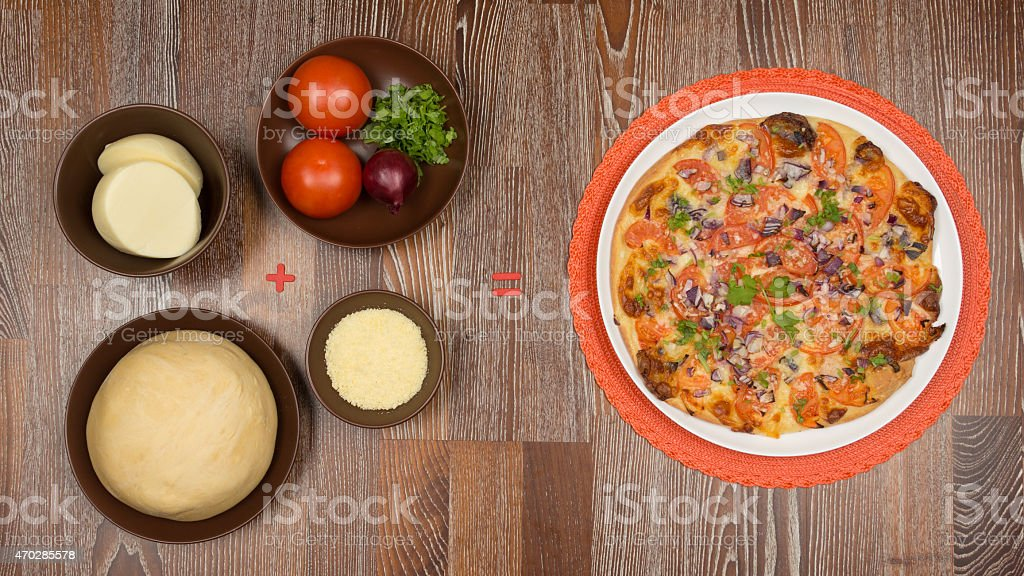 Ingredients for cooking pizza stock photo