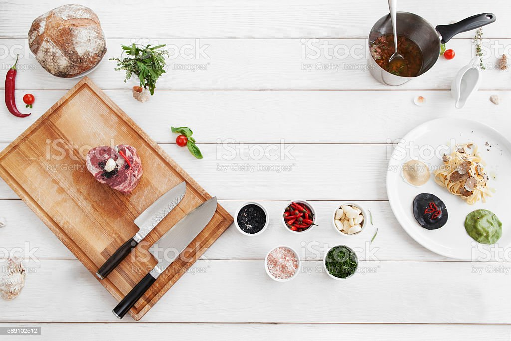 Ingredients for cooking, raw food, flat lay stock photo