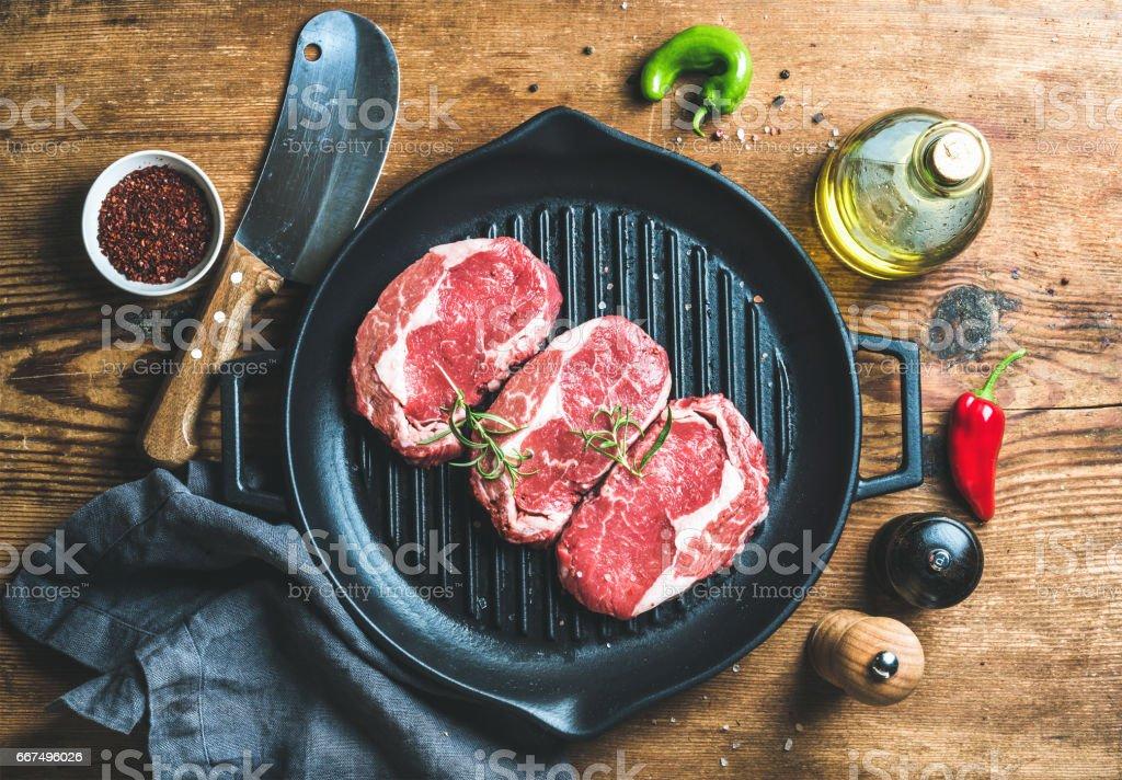 Ingredients for cooking Rib eye roast beef steak stock photo