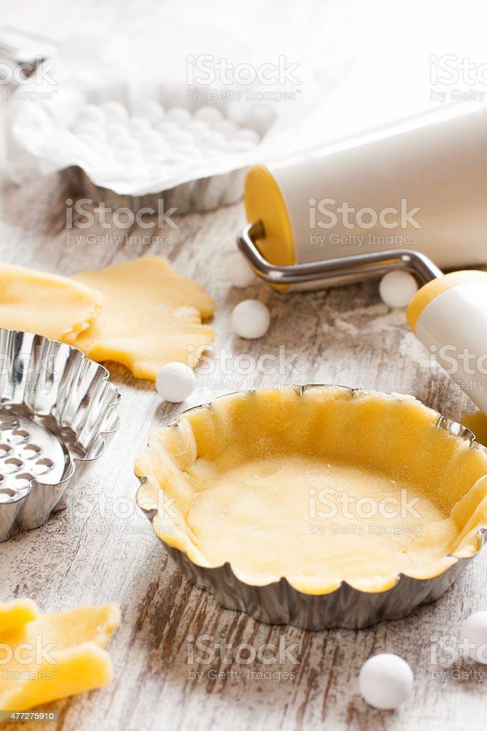 Ingredients for dough bottom for tartlet. stock photo