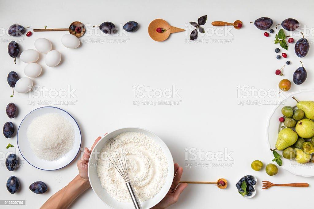 ingredients for fruit cake stock photo