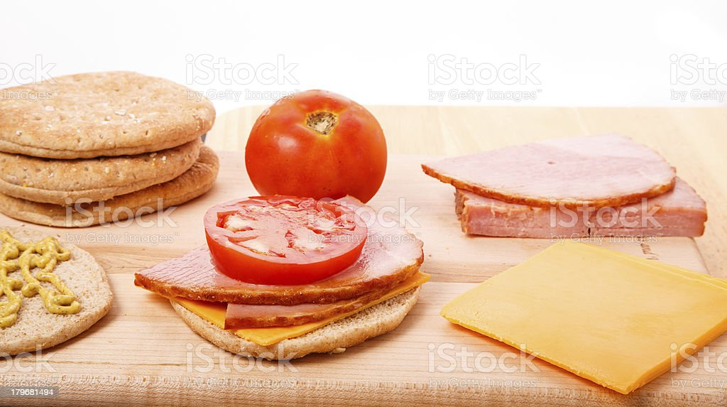 Ingredients for Ham and Cheese Sandwich royalty-free stock photo