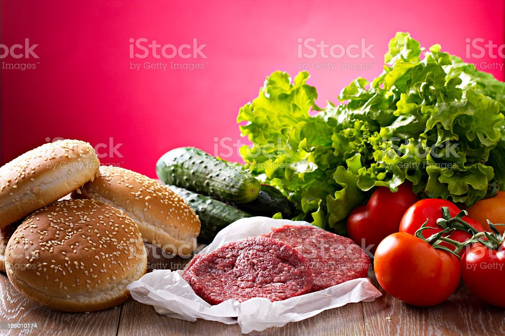 Ingredients for hamburgers royalty-free stock photo