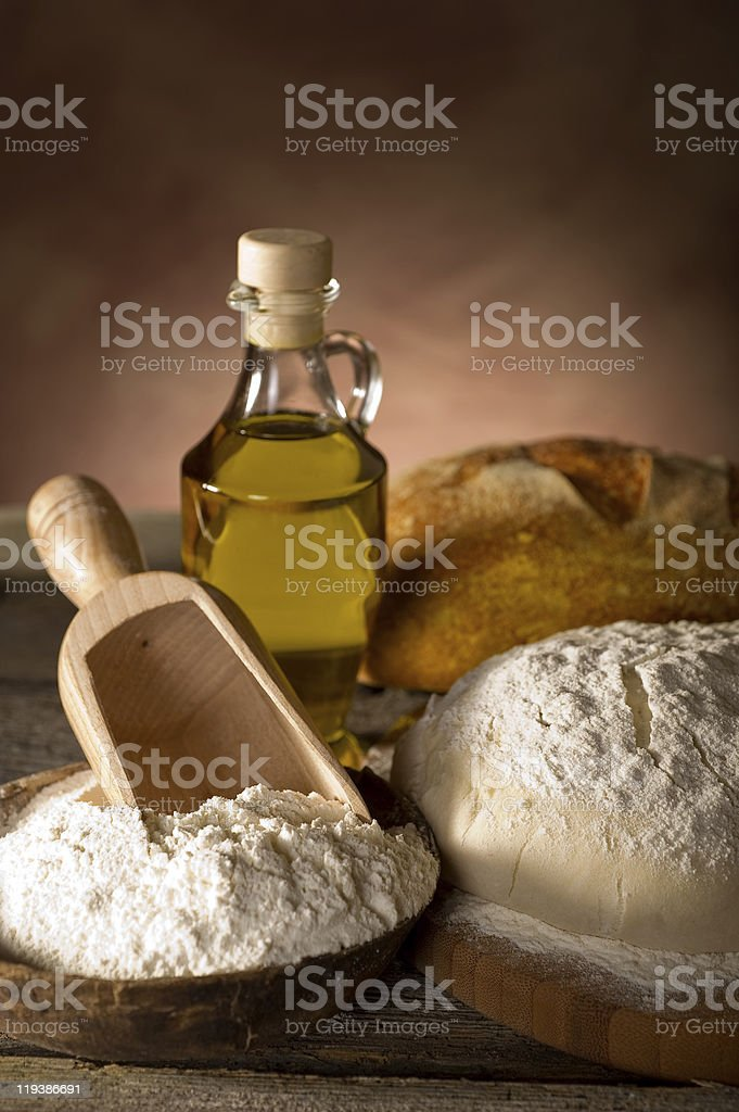 ingredients for homemade bread royalty-free stock photo