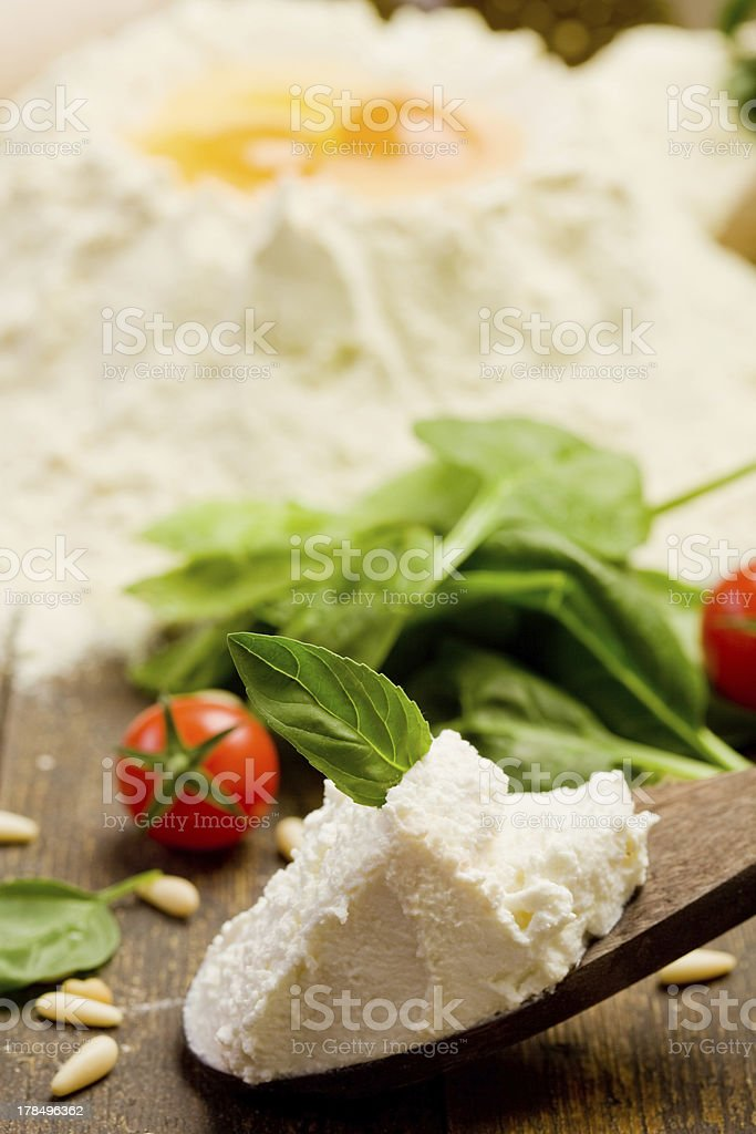 Ingredients for Homemade Ravioli royalty-free stock photo