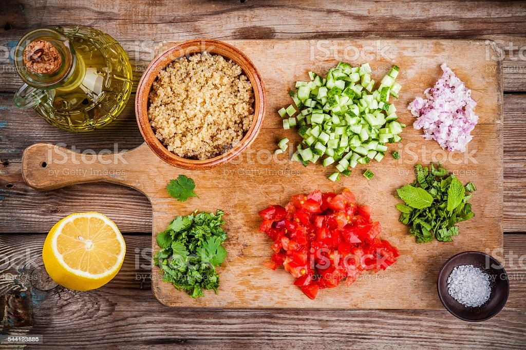 ingredients for homemade tabbouleh salad stock photo