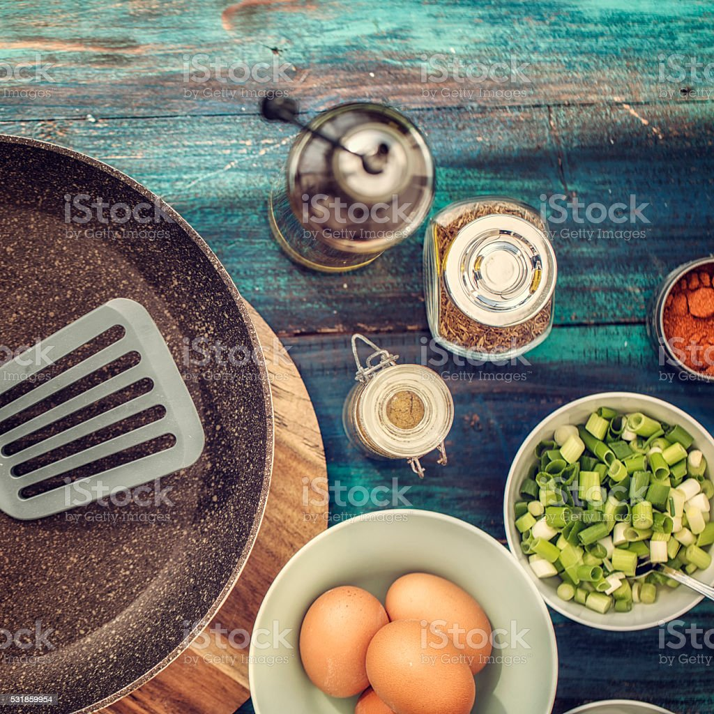Ingredients for Indian Masala Fried Egg stock photo