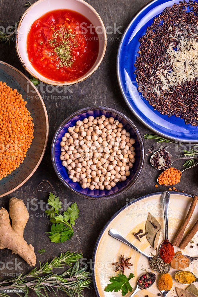 Ingredients for indian or eastern cuisine stock photo
