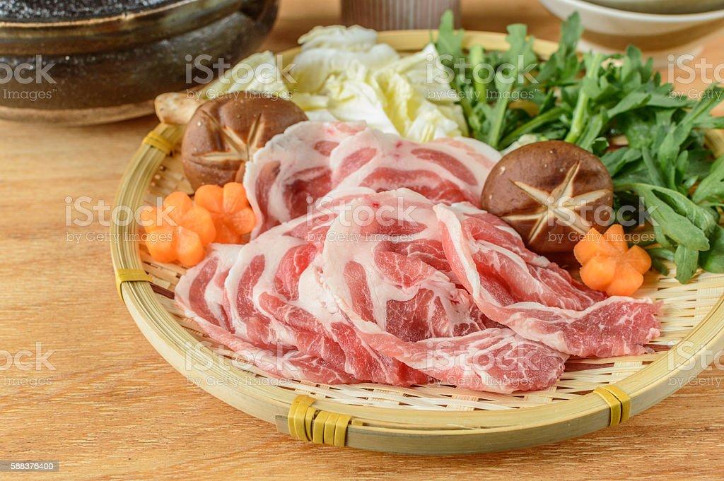 Ingredients for Japanese hot pot (nabe, nabemono) and sukiyaki stock photo