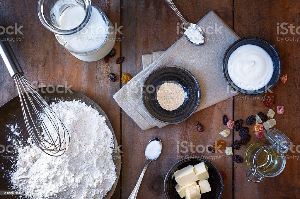 Ingredients for kashmiri naan stock photo