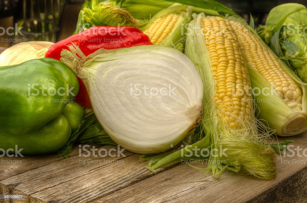 Ingredients for making corn salsa stock photo