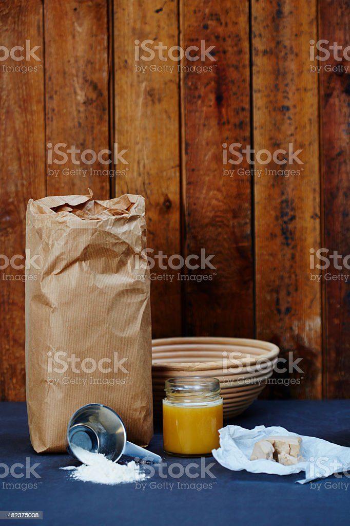 Ingredients for making home made bread, studio stock photo