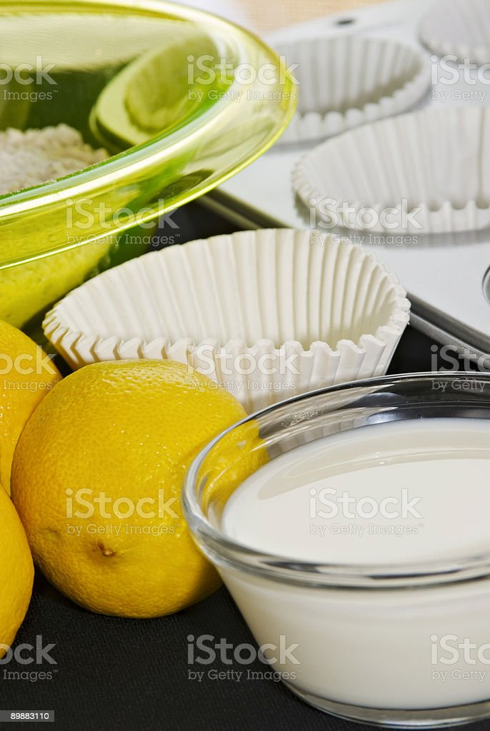Ingredients for making homemade lemon muffins or cupcakes royalty-free stock photo