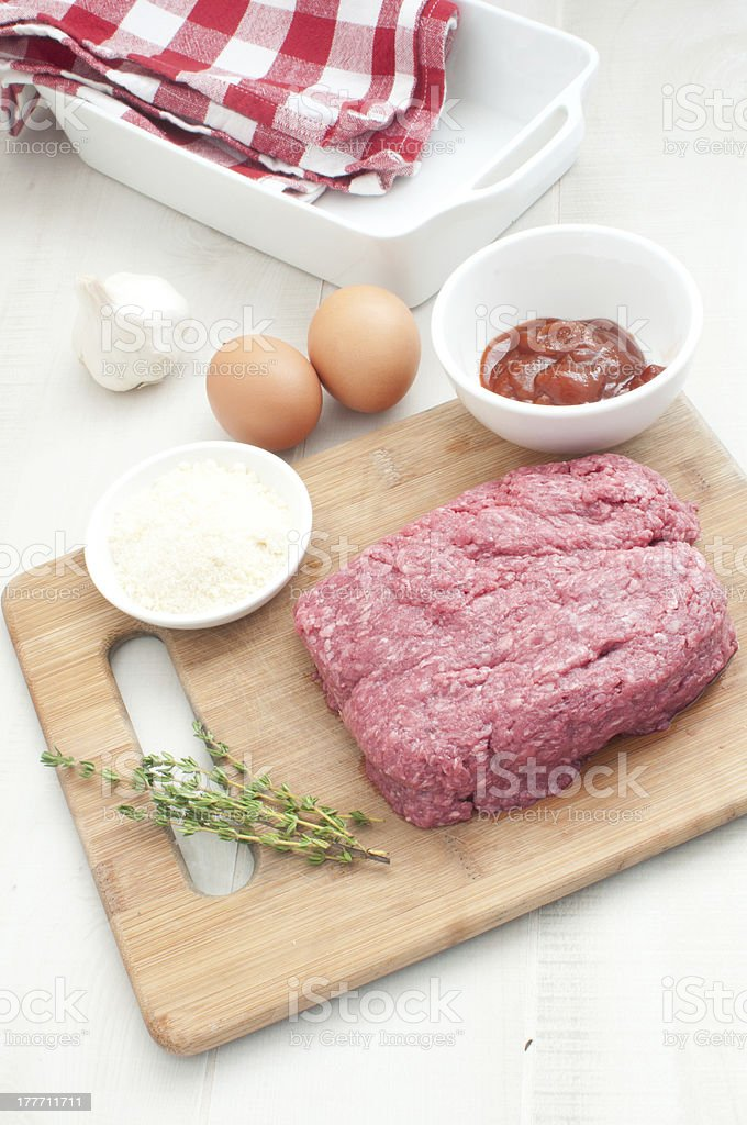 Ingredients for making meatloaf royalty-free stock photo
