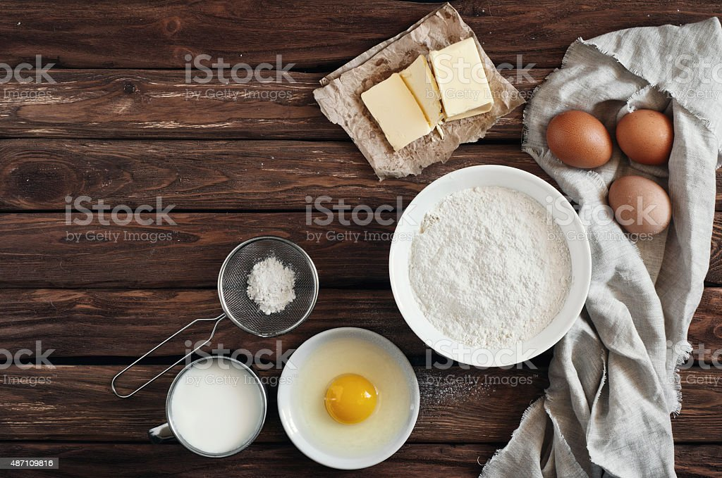 ingredients for making pancakes or cake stock photo
